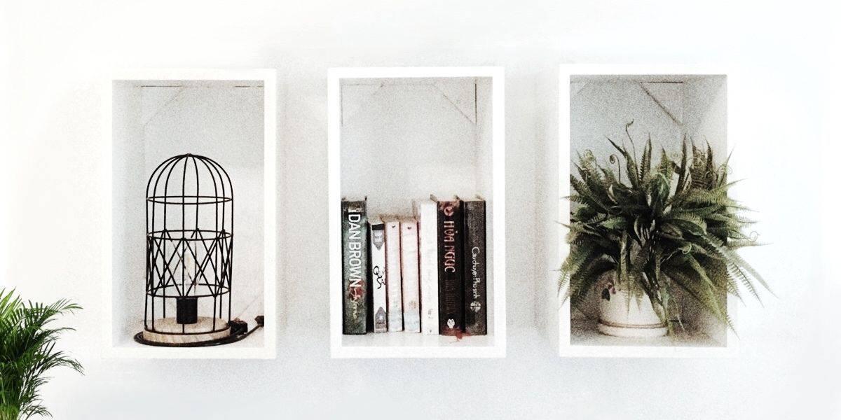 Simple minimalist bookshelf and case Scandi style