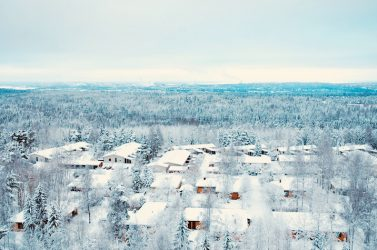 Winter with snow in Danish beach resort with homes