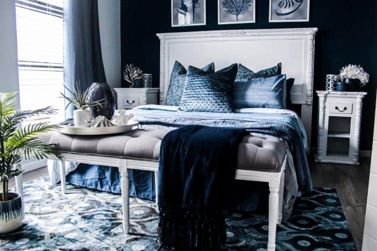 Blue bedroom with blue cushions