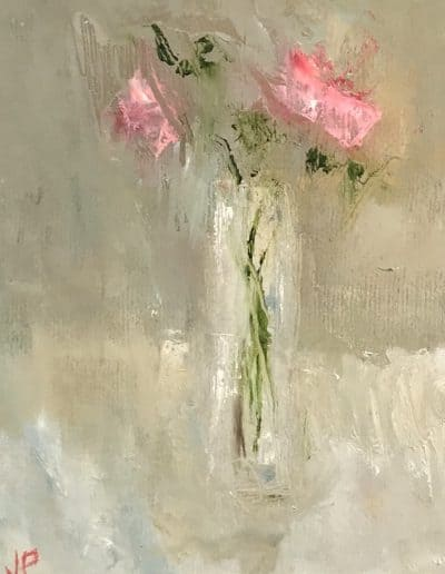 Little Pink Roses, oil on board by Jemma Powell