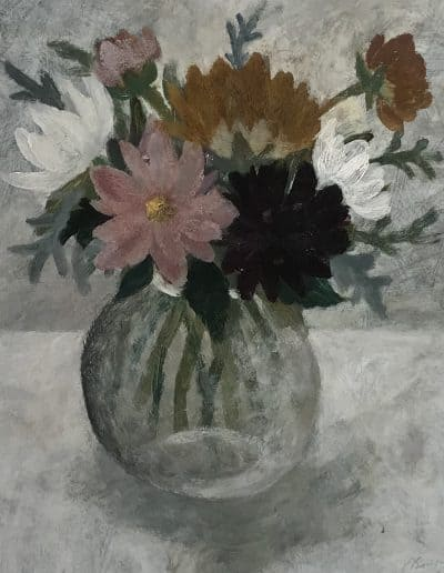Dahlias, oil on board by Sarah Bowman