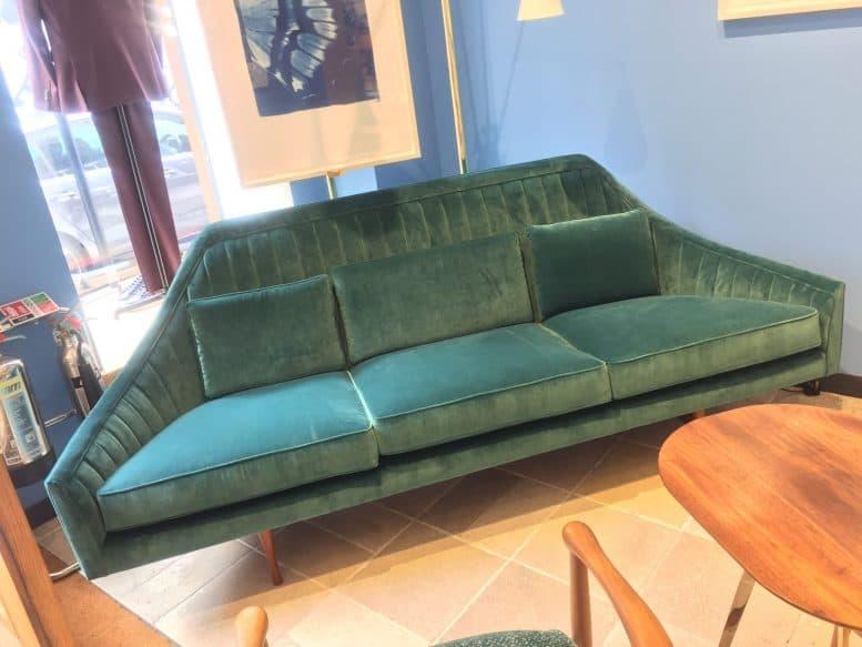 Paul Smith retro green velvet sofa