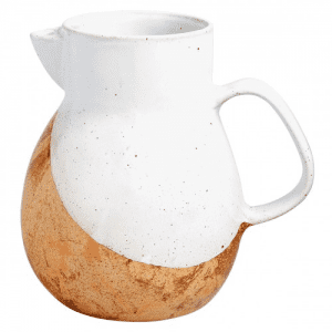 Chalk white glazed jug, two tone by habitat