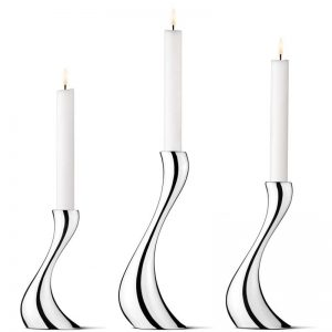 Georg Jensen Cobra Candleholder, Small, Medium and Large, Mirror Polished Stainless Steel