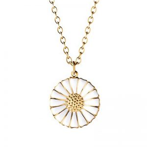 Daisy Pendant by Georg Jensen Gold Plated White Enamel Pendant