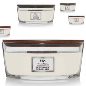 Scented Candle by Woodwick Ellipse, White Tea and Jasmine