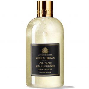 Bottle of Moton Brown bath and shower gel vintage elderflower