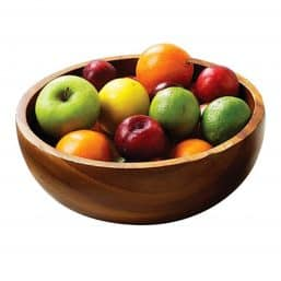 rustic wooden salad and fruit bowl