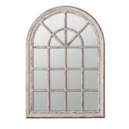 Oka arched window style white mirror