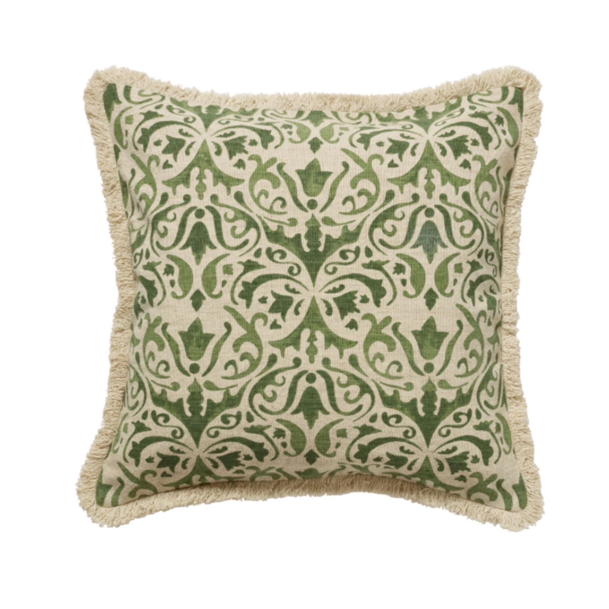 green patterned vintage style cushion with frills