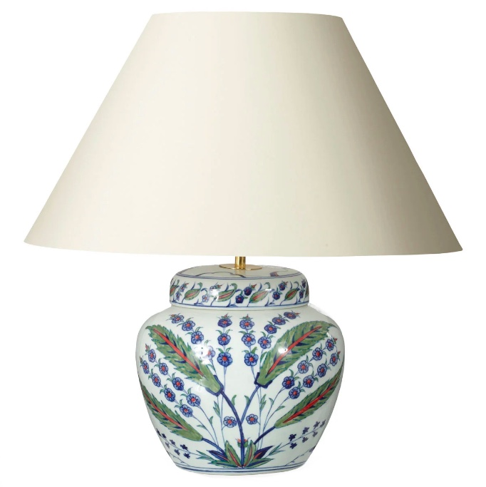 Urn ceramic round patterned table lamp