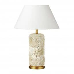 white shell lamp with white shade