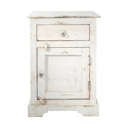 antiqued white bedside table and cupboard