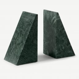 two dark green triangular marble bookends