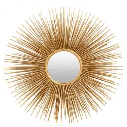 round gold metal sunburst mirror