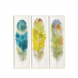Whimsical, colurful set of 3 prints of feathers