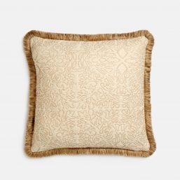 Luxurious golden Stockholm Stitch fabric cushion with fringe
