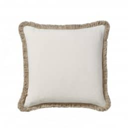 Off white bedroom cushion with mini fringe