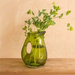 See through green jug vase with greenery