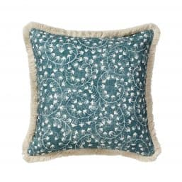 Floral patterned cushion in 100 percent linen with fringe