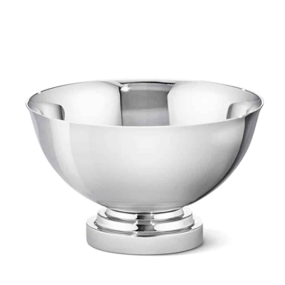 Mirror polished stainless steel bowl by georg jensen
