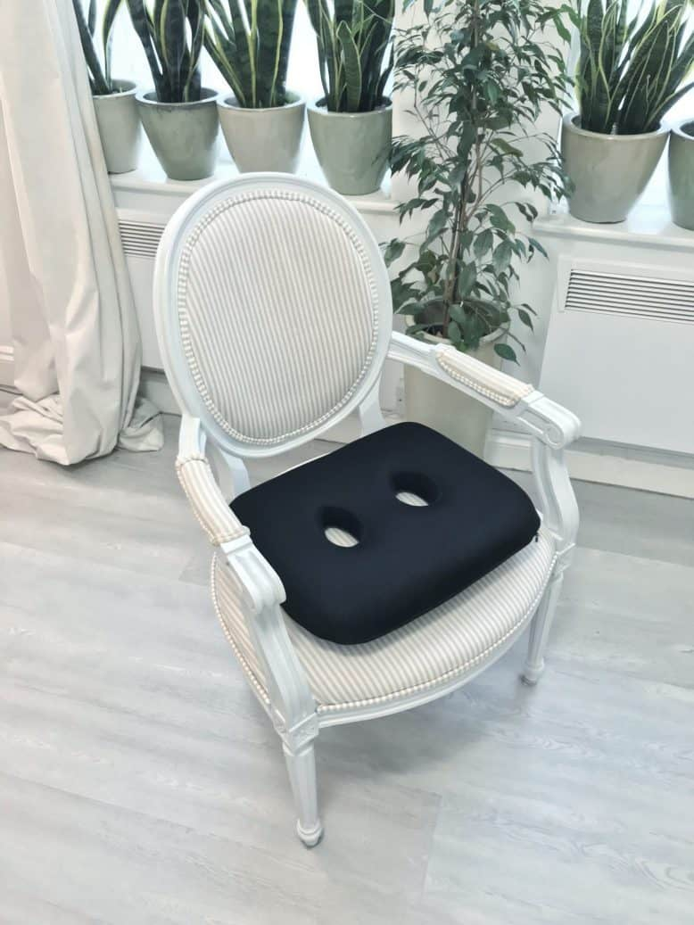 Sit bone cushion in Gustavian style chair