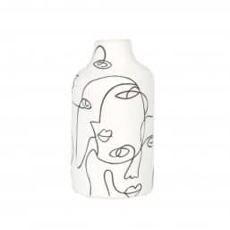 Picasso style drawing on white vase