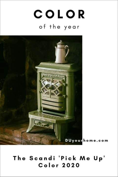 Colour of the year Scandinavia 2020 - green iron fireplace