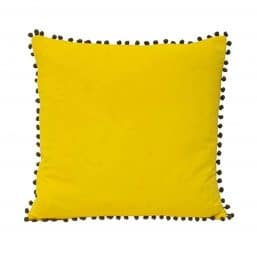 Faux velvet yellow cushion cover with fringe