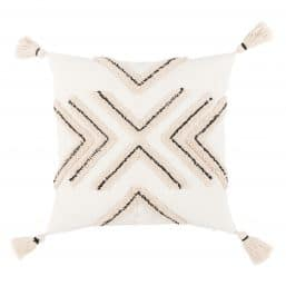 Ivory and beige cushion cover with tassels