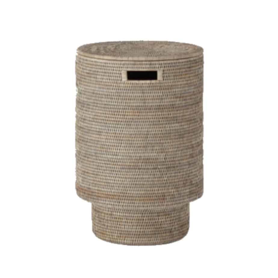 Round natural laundry basket