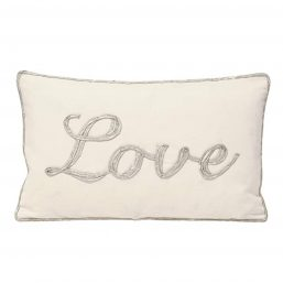 Cotton cushion cover with metallic love letters