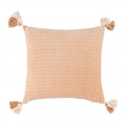 Beige and pink cushion cover with tassels